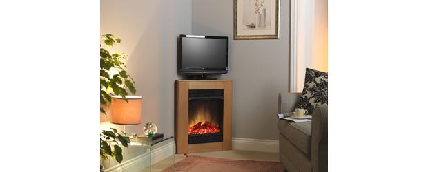 Corelli Oak Compact Corner Fireplace Suite, Electric Corner Fireplace Uk